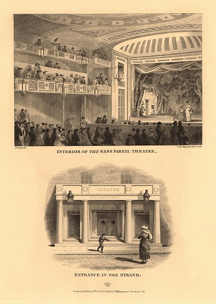 Associate Product SANS PAREIL THEATRE (now the ADELPHI). Interior & Strand entrance 1834 print
