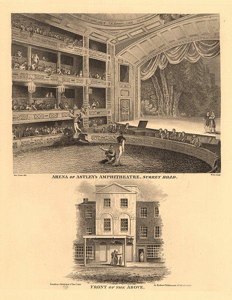 Associate Product ASTLEY'S AMPHITHEATRE, Westminster Bridge Road, Lambeth. Interior & front 1834