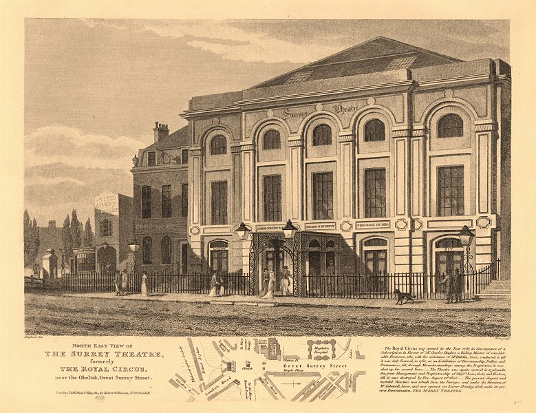 Associate Product SURREY THEATRE (ex-ROYAL CIRCUS), Lambeth. ST GEORGE'S CIRCUS plan 1834 map