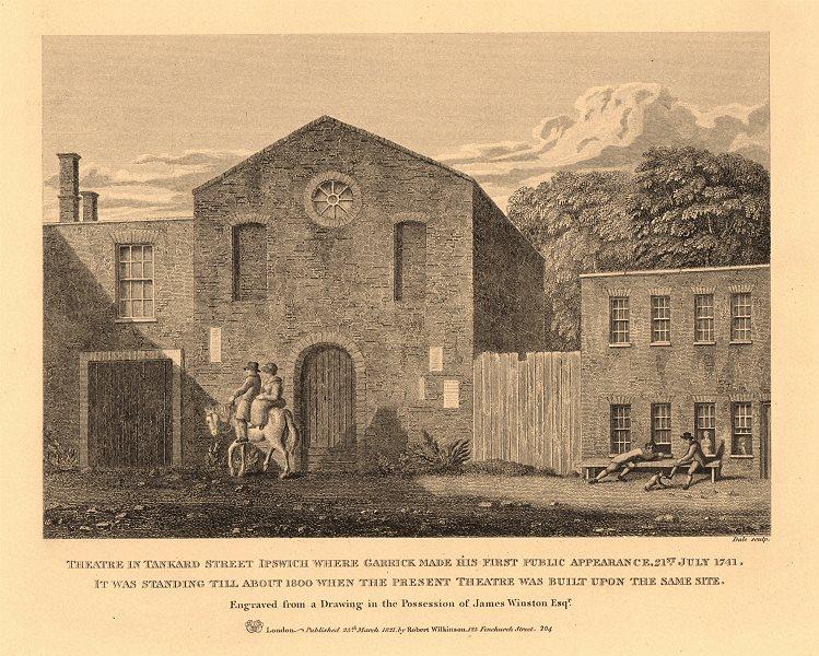 THEATRE ROYAL, IPSWICH where Garrick debuted 1741. Tankard/Packet Street 1834