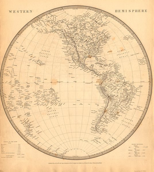 Associate Product WESTERN HEMISPHERE. Americas Mexican Texas Pacific New Zealand. SDUK 1844 map