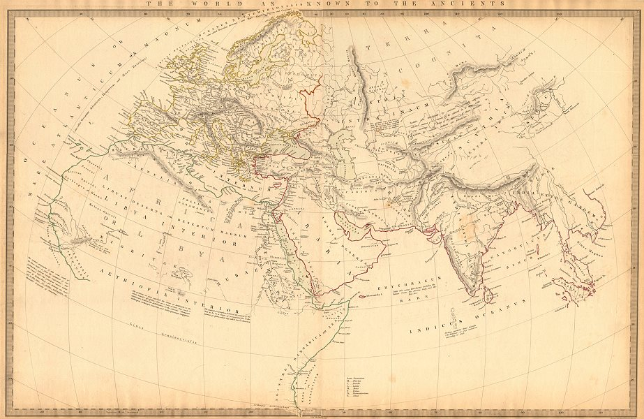 Associate Product WORLD KNOWN TO ANCIENTS. Herodotus Ptolemy Pliny Hanno. SDUK 1844 old map