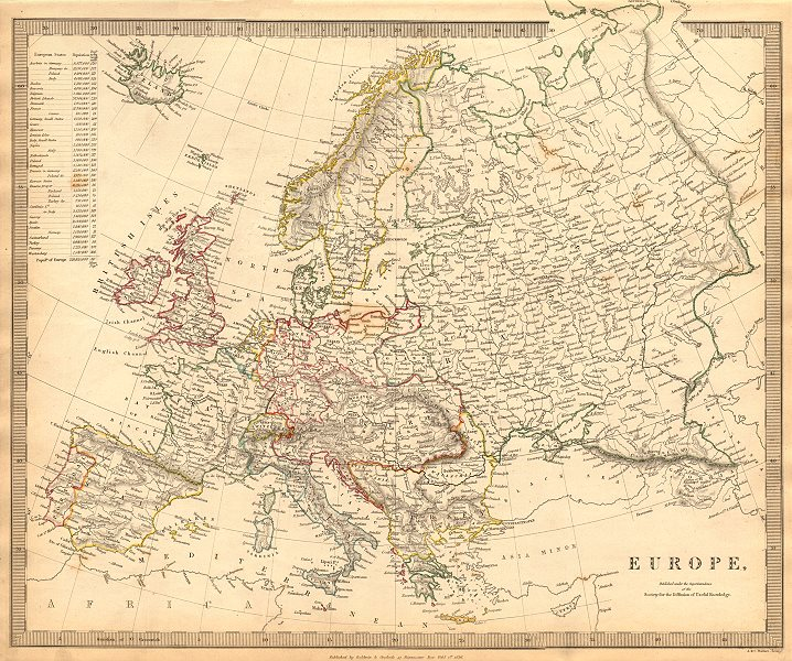 Associate Product EUROPE. General map. Inset table of population & density by country . SDUK 1844