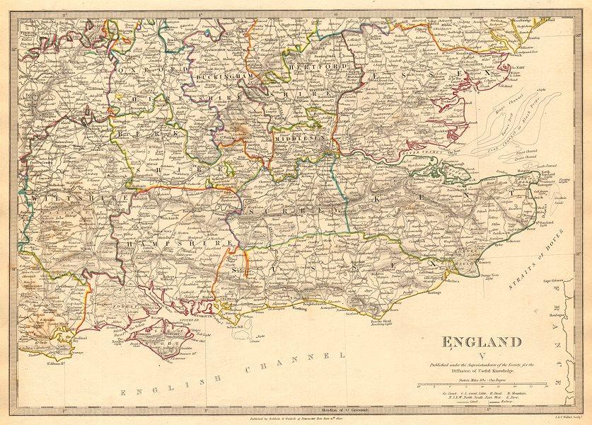 Associate Product ENGLAND SE. Middx Kent Sussex Surrey Hants Berks Essex Herts. SDUK 1844 map