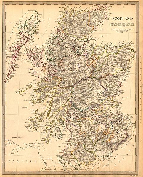 Associate Product SCOTLAND. General map showing castles & kirks. SDUK 1844 old antique chart