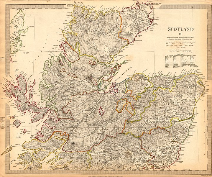 Associate Product SCOTLAND NORTH. Shows castles & kirks. Inset former county names.SDUK 1844 map
