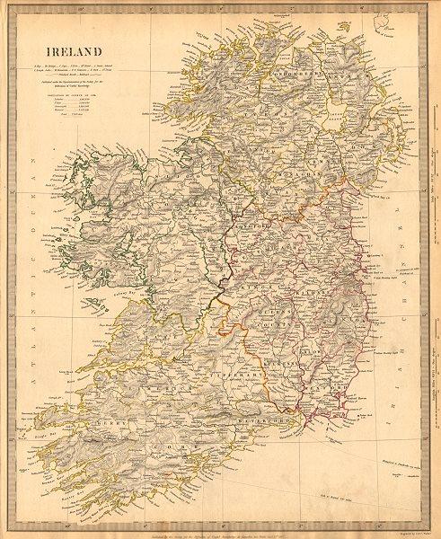 IRELAND w/ roads & 1st irish railway. Kingstown-Dublin-Drogheda. SDUK 1844 map
