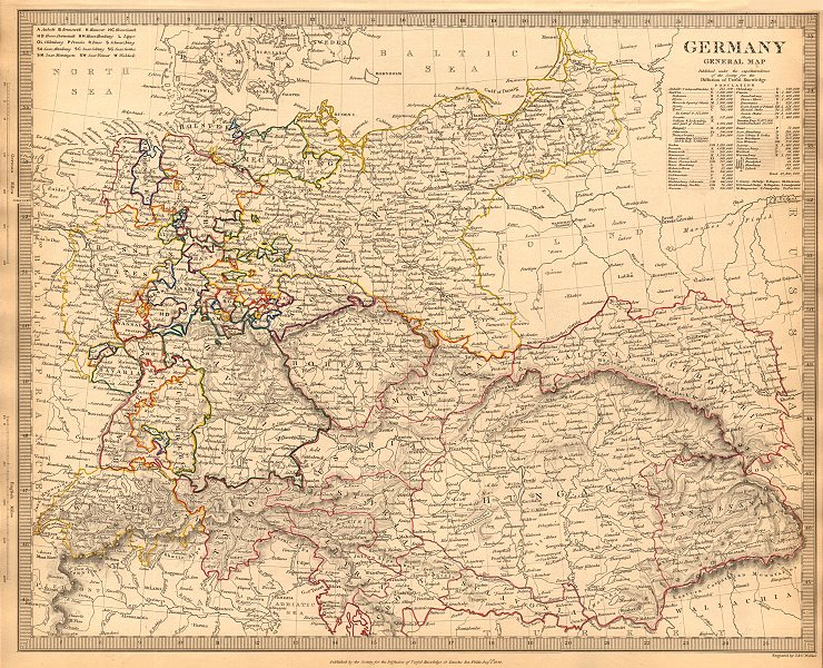 Associate Product GERMANY. General Map. Hungary. Population table. SDUK 1844 old antique