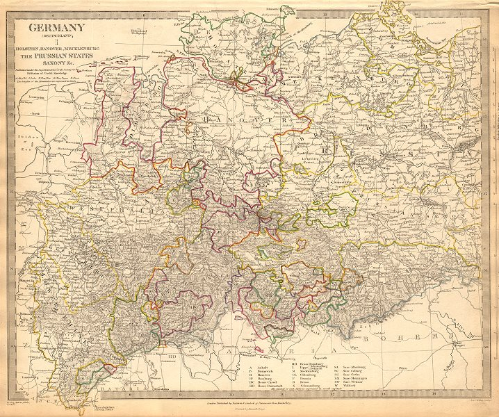 Associate Product GERMANY DEUTSCHLAND.Holstein Hanover Mecklenburg Prussia Saxony.SDUK 1844 map
