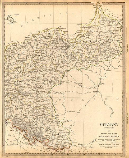 Associate Product GERMANY DEUTSCHLAND.Eastern Prussian States.Silesia;Pomerania.SDUK 1844 map