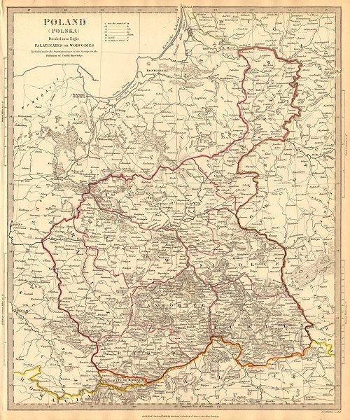 Associate Product POLAND POLSKA.Palatinates Woiwodies.Mazow Krakow Plock Kalisz &c.SDUK 1844 map