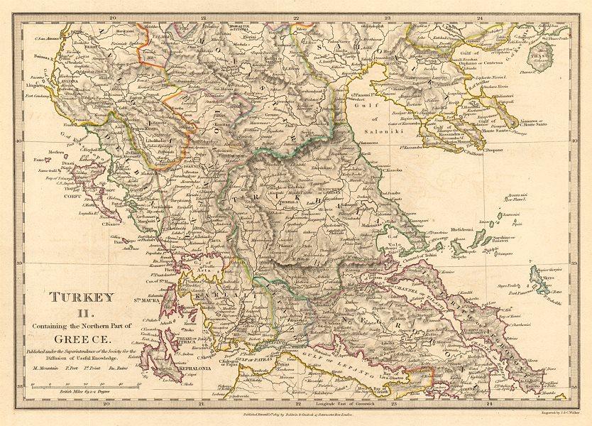 Associate Product GREECE.Corfu Ionian Euboea Kephalonia Saloniki Lepanto Ioannina.SDUK 1844 map