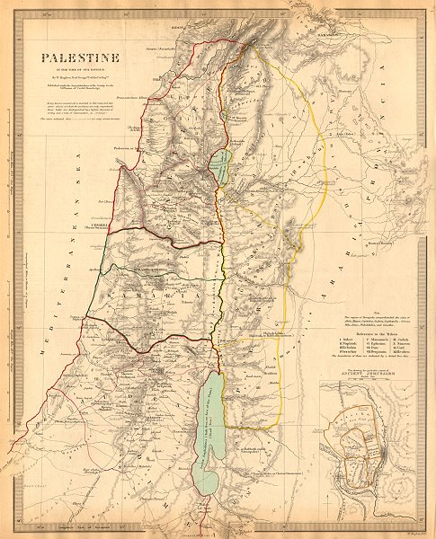 Associate Product PALESTINE. in the time of Our Saviour Jesus; Ancient Jerusalem. SDUK 1844 map