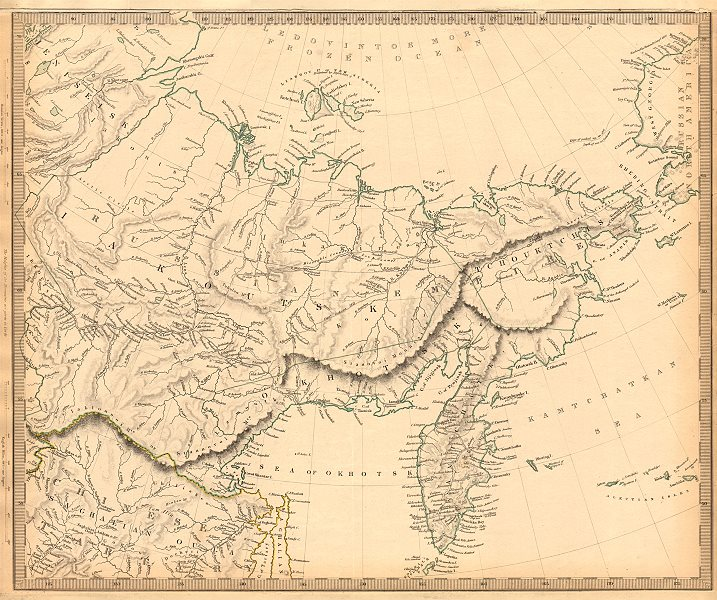 Associate Product EASTERN SIBERIA. Kamtchatka Yakutia Chukotka Khabarovsk. Russia. SDUK 1844 map