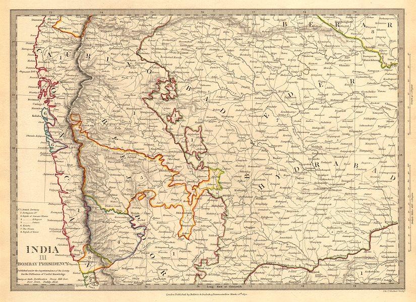 Associate Product BOMBAY (MUMBAI) PRESIDENCY AND HYDERABAD. Aurangabad; Bijapur. SDUK 1844 map