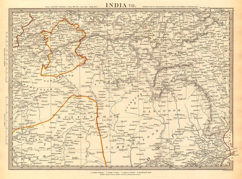 Associate Product INDIA.Allahabad to Bay of Bengal.Bahar. Berar Orissa Ruttunpoor.SDUK 1844 map
