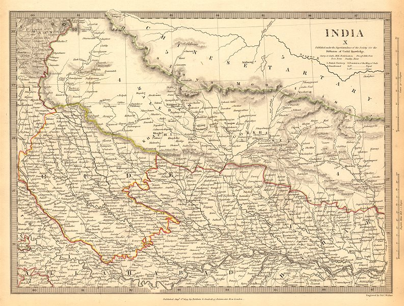 Associate Product NEPAL AND NORTHERN INDIA. Oude (Awadh) to Allahabad. Gorkha. SDUK 1844 old map