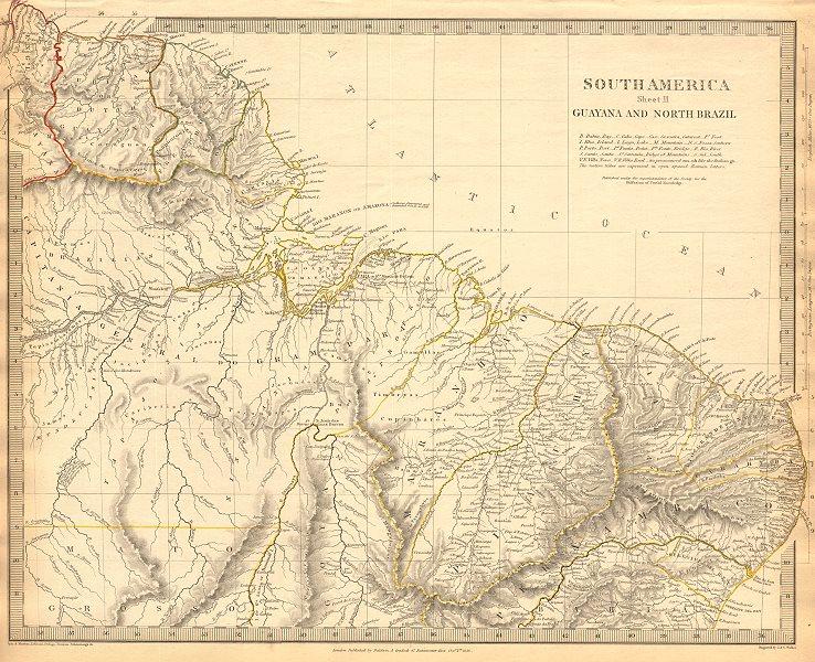 Associate Product AMAZONIA. Showing Indian tribes. Guyana Surinam Brazil. Recife. SDUK 1844 map