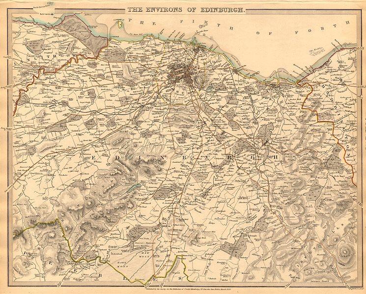 Associate Product EDINBURGH & ENVIRONS. Leith Linlithgow Peebles Haddington. SDUK 1844 old map