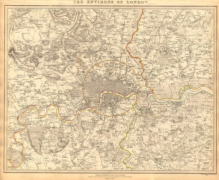 Associate Product LONDON & ENVIRONS. Middlesex Kent Essex Surrey.  Coloured. SDUK 1844 old map