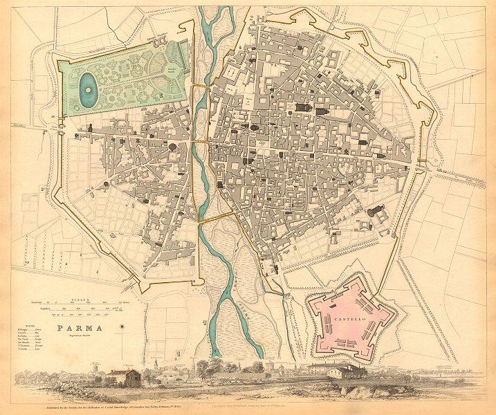 Associate Product PARMA. Antique town city map plan & panorama. Parme. SDUK 1844 old