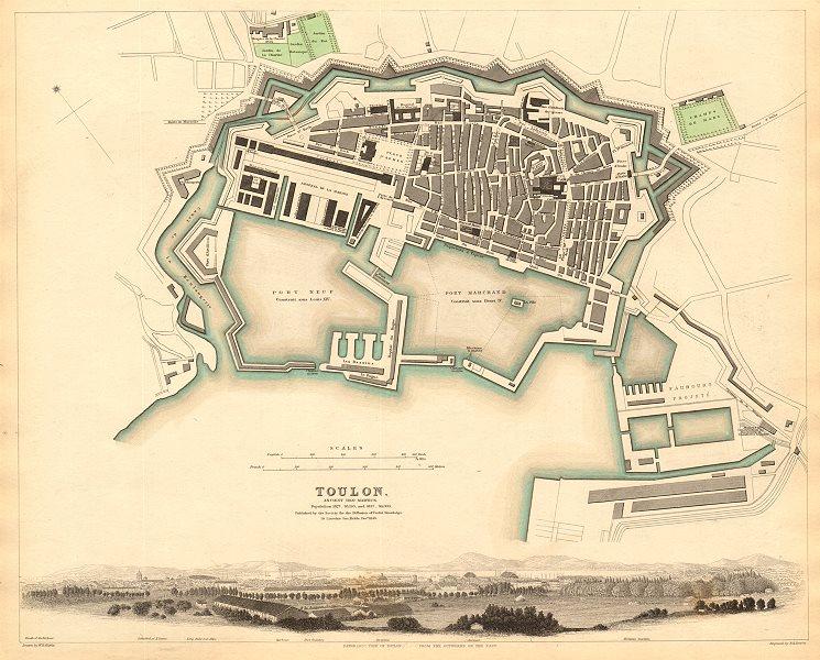 Associate Product TOULON. Antique town city map plan.Ancient Telo Martius.Panorama view.SDUK 1844