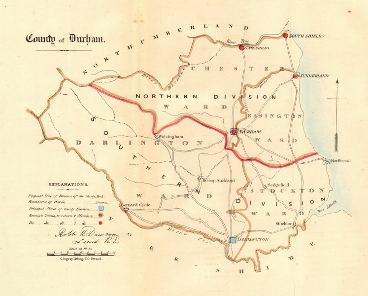 Associate Product County Durham map. Divisions boroughs electoral. REFORM ACT. DAWSON 1832