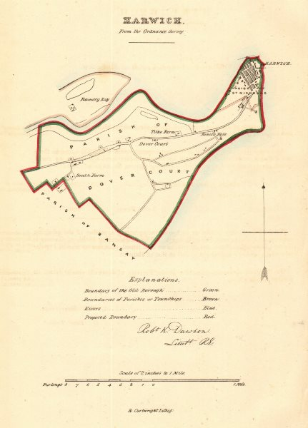 Associate Product HARWICH borough/town plan for the REFORM ACT. Essex. DAWSON 1832 old map