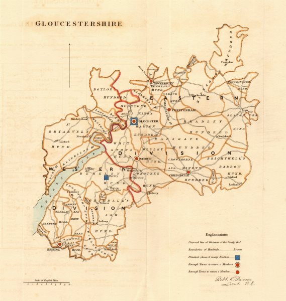 Associate Product Gloucestershire county map. Divisions boroughs electoral REFORM ACT. DAWSON 1832
