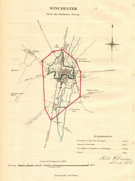 Associate Product WINCHESTER borough/town plan. REFORM ACT. Weeke. Hampshire. DAWSON 1832 map