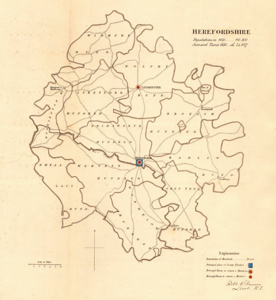 Associate Product Herefordshire county map. Boroughs electoral. REFORM ACT. DAWSON 1832 old
