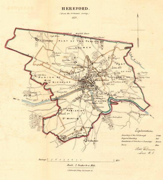 Associate Product HEREFORD borough/town plan. REFORM ACT. Huntington Bullingham. DAWSON 1832 map