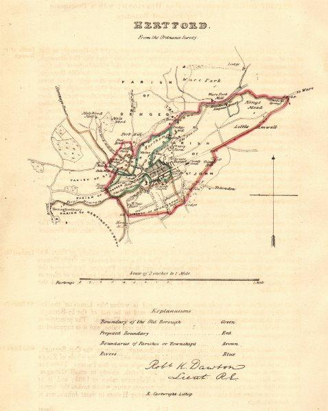 Associate Product HERTFORD borough/town plan. REFORM ACT. Hertingfordbury. DAWSON 1832 old map