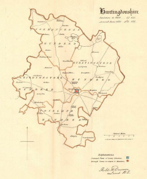 Associate Product Huntingdonshire county map. Boroughs electoral. REFORM ACT. DAWSON 1832