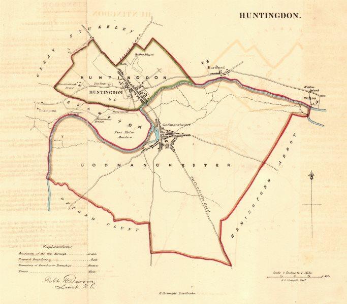 Associate Product HUNTINGDON borough/town plan. REFORM ACT. Godmanchester Wyton. DAWSON 1832 map