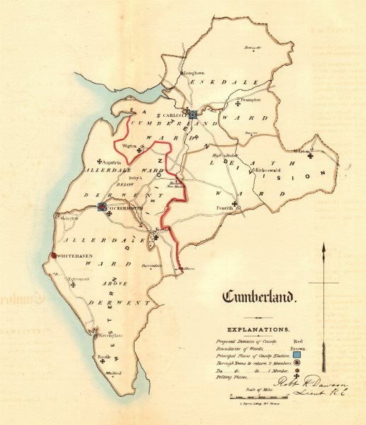 Associate Product Cumberland county map. Divisions boroughs electoral. REFORM ACT. DAWSON 1832