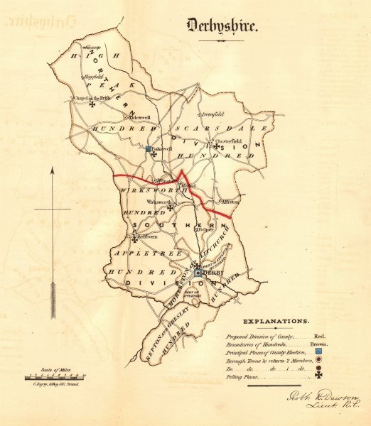 Associate Product Derbyshire county map. Divisions boroughs electoral. REFORM ACT. DAWSON 1832