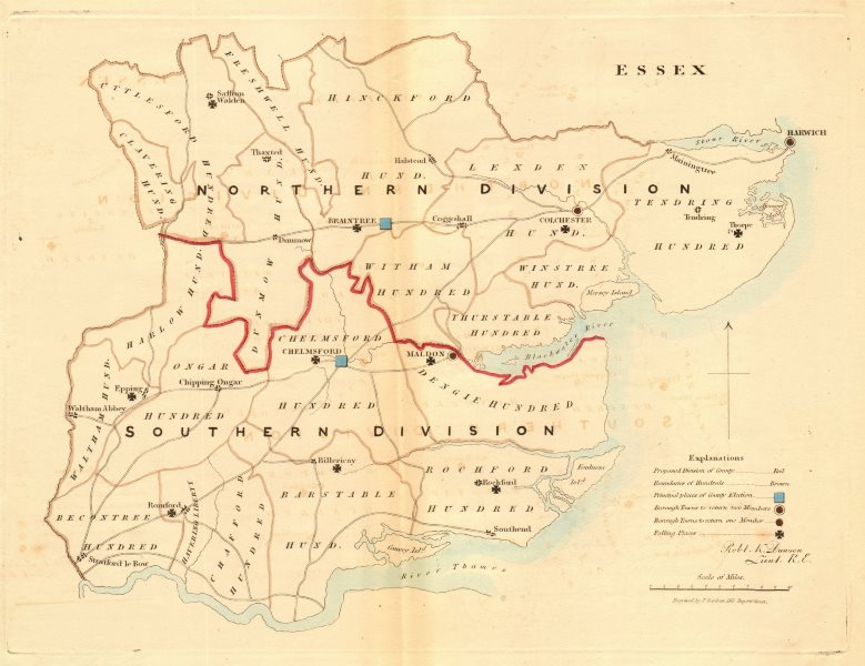 Associate Product Essex county map. Divisions boroughs electoral. REFORM ACT. DAWSON 1832