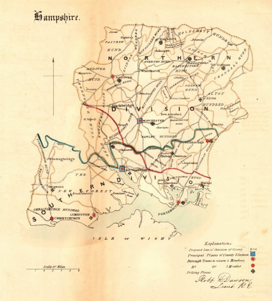Associate Product Hampshire county map. Divisions boroughs electoral. REFORM ACT. DAWSON 1832