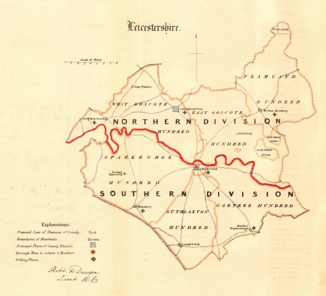 Associate Product Leicestershire county map. Divisions boroughs electoral. REFORM ACT. DAWSON 1832