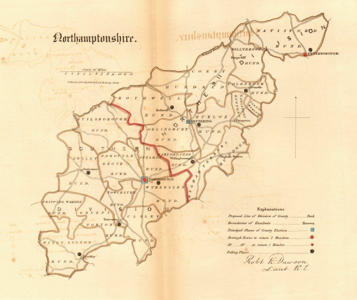 Associate Product Northamptonshire county map. Divisions boroughs electoral REFORM ACT.DAWSON 1832