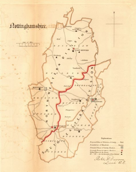 Nottinghamshire county map. Divisions boroughs electoral REFORM ACT. DAWSON 1832