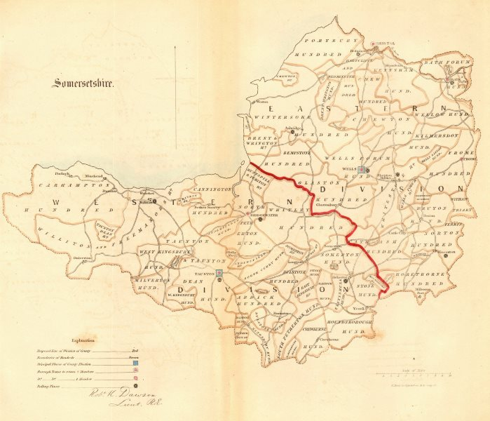 Associate Product Somersetshire county map. Divisions boroughs electoral. REFORM ACT. DAWSON 1832