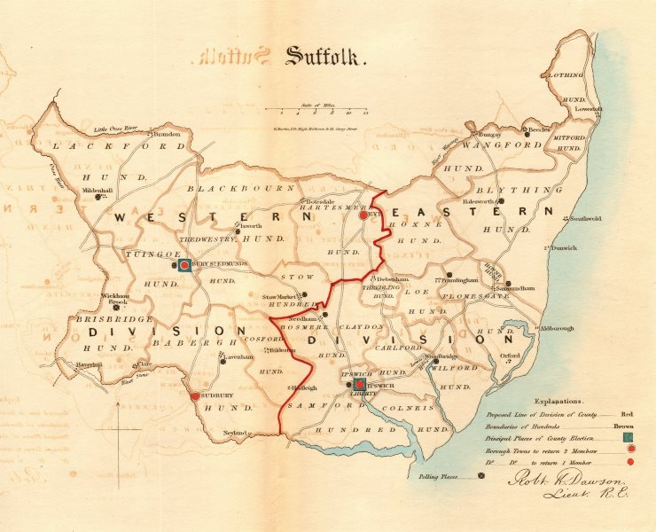 Associate Product Suffolk county map. Divisions boroughs electoral. REFORM ACT. DAWSON 1832