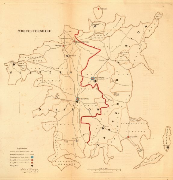 Associate Product Worcestershire county map. Divisions boroughs electoral. REFORM ACT. DAWSON 1832