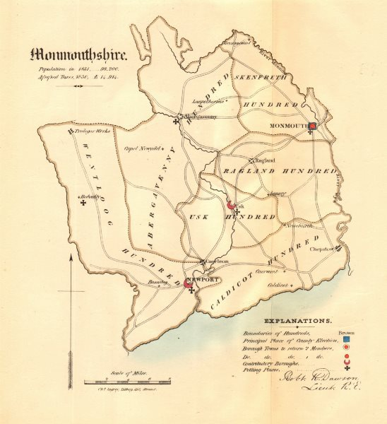 Associate Product Monmouthshire county map. Principal/contributory boroughs REFORM ACT.DAWSON 1832