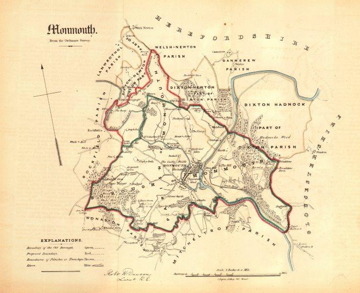 Associate Product MONMOUTH borough/town plan. REFORM ACT. Osbaston Ganarew. DAWSON 1832 old map