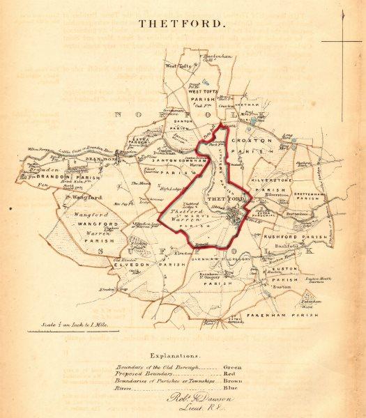 Associate Product THETFORD borough/town plan for the REFORM ACT. Brandon. Norfolk. DAWSON 1832 map