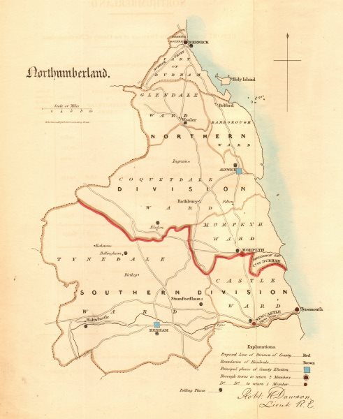 Associate Product Northumberland county map. Divisions boroughs electoral. REFORM ACT. DAWSON 1832