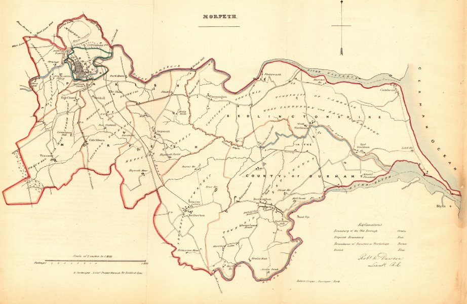 Associate Product MORPETH borough/town plan. REFORM ACT. Bedlington Northumberland.DAWSON 1832 map